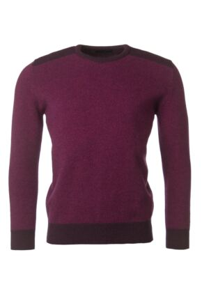 Mens Great & British Knitwear 100% Lambswool Birdseye Crew Neck Jumper Black Grape C Medium