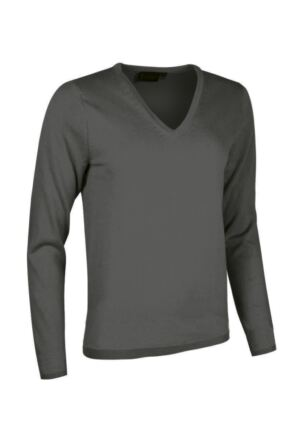 Ladies Great & British Knitwear Made In Scotland 100% Cashmere V Neck Blacks and Greys Derby Grey XX Large