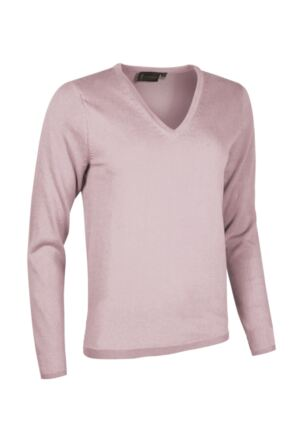 Ladies Great & British Knitwear Made In Scotland 100% Cashmere V Neck Purples and Pinks Fondant Extra Small