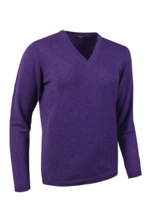 Ladies Great & British Knitwear Made In Scotland 100% Cashmere V Neck Purples and Pinks Ametista Extra Small
