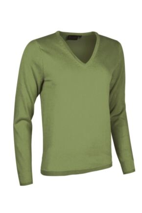 Ladies Great & British Knitwear Made In Scotland 100% Cashmere V Neck Browns and Greens Foliage Extra Large