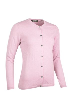 Ladies Great & British Knitwear Made In Scotland 100% Cashmere Golfer Cardigan Pinks Whites and Purples Fondant Extra Small