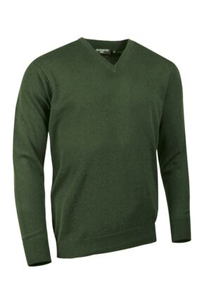 Mens Great & British Knitwear Made In Scotland 100% Cashmere V Neck Serpentine Small
