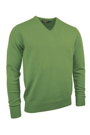 Mens Great & British Knitwear Made In Scotland 100% Cashmere V Neck Foliage Medium
