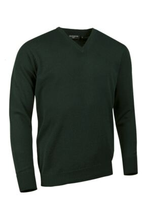 Mens Great & British Knitwear Made In Scotland 100% Cashmere V Neck British Racing Green Medium