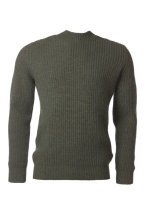 Mens Great & British Knitwear 100% Lambswool Fisherman Rib Crew Neck Jumper Landscape B Small