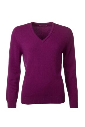Ladies Great & British Knitwear 100% Lambswool Plain V Neck Jumper Empire D Large