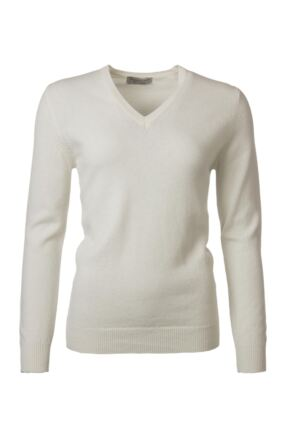 Ladies Great & British Knitwear 100% Lambswool Plain V Neck Jumper Arctic White C Medium