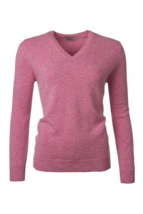 Ladies Great & British Knitwear 100% Lambswool Plain V Neck Jumper Nougat C Medium