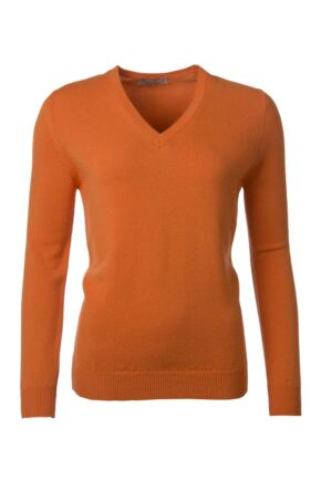 Ladies Great & British Knitwear 100% Lambswool Plain V Neck Jumper Turmeric C Medium