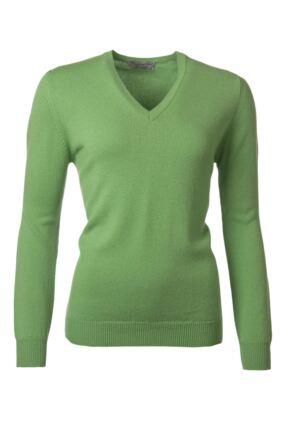 Ladies Great & British Knitwear 100% Lambswool Plain V Neck Jumper Cucumber D Large