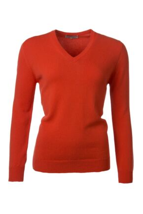 Ladies Great & British Knitwear 100% Lambswool Plain V Neck Jumper Crab Apple C Medium