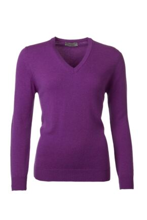 Ladies Great & British Knitwear 100% Lambswool Plain V Neck Jumper Foxglove E Extra Large