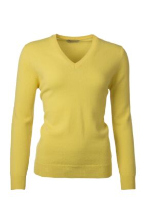 Ladies Great & British Knitwear 100% Lambswool Plain V Neck Jumper Daffodil D Large