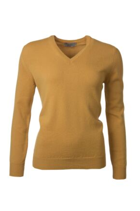 Ladies Great & British Knitwear 100% Lambswool Plain V Neck Jumper Harvest Gold B Small