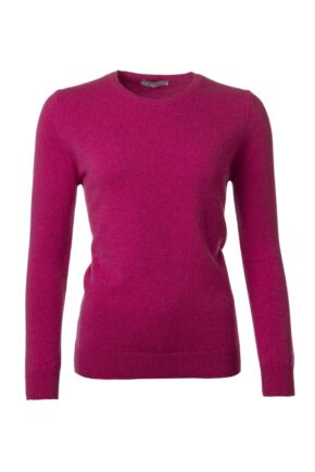 Ladies Great & British Knitwear 100% Lambswool Plain Round Neck Jumper Damask D Large