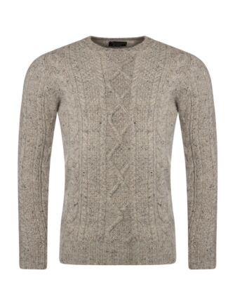 Mens Great & British Knitwear 100% British Wool Arran Cable Slimfit Crew Neck Jumper