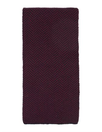 Mens Great and British Knitwear 100% Merino Herringbone Scarf. Made In Scotland Claret / Navy One Size