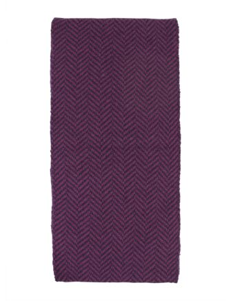 Mens Great and British Knitwear 100% Merino Herringbone Scarf. Made In Scotland Purple Heather/ Vegas One Size