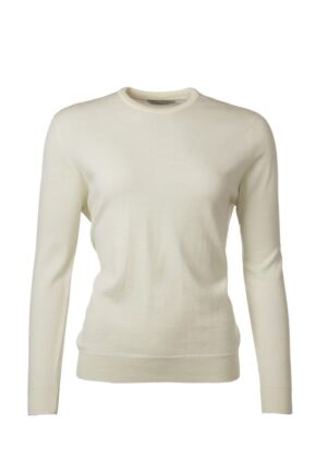 Ladies Great & British Knitwear 100% Merino Round Neck Jumper Arctic White D Large