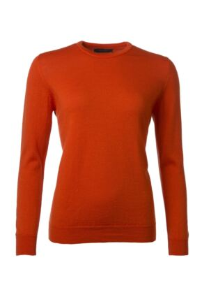 Ladies Great & British Knitwear 100% Merino Round Neck Jumper Orange D Large