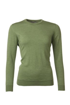 Ladies Great & British Knitwear 100% Merino Round Neck Jumper Watercress B Small