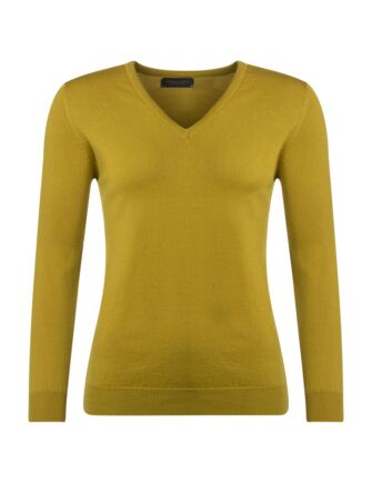 Ladies Great & British Knitwear 100% Merino V Neck Jumper Piccalilli B Small