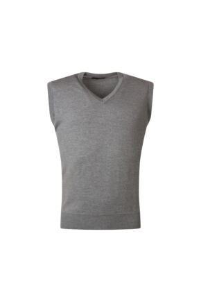 Mens Great & British Knitwear 100% Merino Plain V Neck Slipover Dove Grey E Extra Large