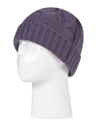 Ladies Great and British Knitwear 100% Cashmere Cable Knit Hat. Made In Scotland Plum One Size