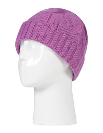Ladies Great and British Knitwear 100% Cashmere Cable Knit Hat. Made In Scotland Anemone One Size