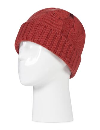 Ladies Great and British Knitwear 100% Cashmere Cable Knit Hat. Made In Scotland Brandy Snap One Size