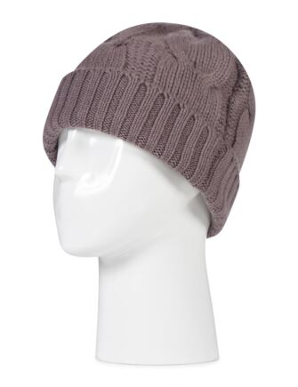 Ladies Great and British Knitwear 100% Cashmere Cable Knit Hat. Made In Scotland Clay One Size