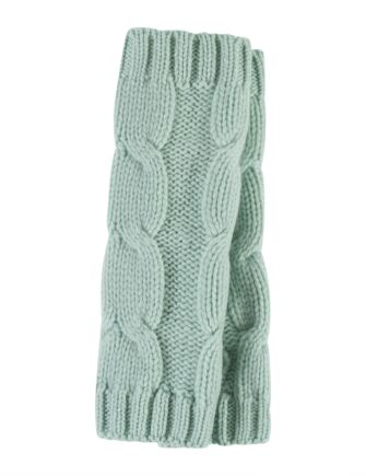 Ladies Great and British Knitwear 100% Cashmere Cable Knit Fingerless Gloves. Made In Scotland Peridot One Size