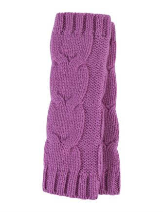 Ladies Great and British Knitwear 100% Cashmere Cable Knit Fingerless Gloves. Made In Scotland Anemone One Size