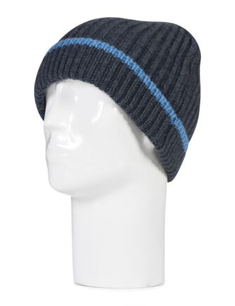 Mens Great and British Knitwear 100% Cashmere Cardigan Knit Hat. Made In Scotland Charcoal One Size