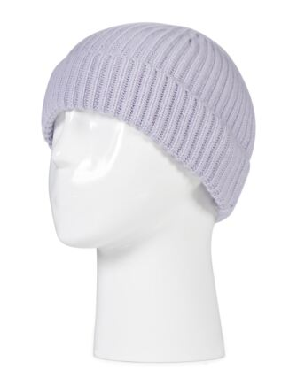 Ladies and Mens Great and British Knitwear 100% Cashmere Plain Beanie Hat. Made In Scotland Lilac Frost One Size