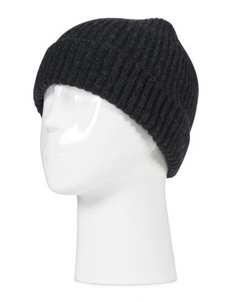 Ladies and Mens Great and British Knitwear 100% Cashmere Plain Beanie Hat. Made In Scotland Charcoal One Size