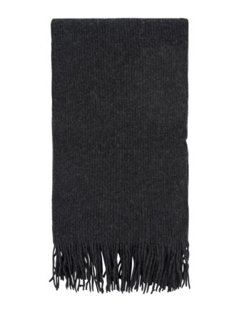 Ladies and Mens Great and British Knitwear 100% Cashmere Plain Knit Scarf With Fringe Charcoal One Size