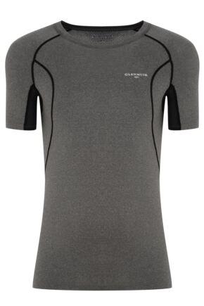 Mens 1 Pack Glenmuir Short Sleeved Compression Base Layer T-Shirt Charcoal L