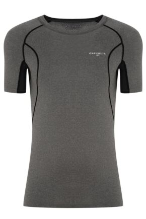 Mens 1 Pack Glenmuir Short Sleeved Compression Base Layer T-Shirt Charcoal XL