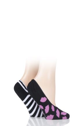 Ladies 2 Pair Lulu Guinness Cotton Ped Socks
