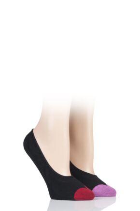 Ladies 2 Pair Lulu Guinness Cotton Ped Socks