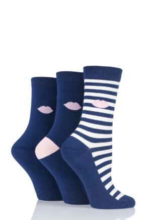 Ladies 3 Pair Lulu Guinness Kisses Cotton Socks