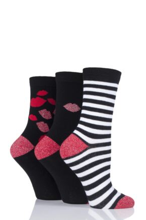 Ladies 3 Pair LuLu Guiness Gift Boxed Kisses Cotton Socks