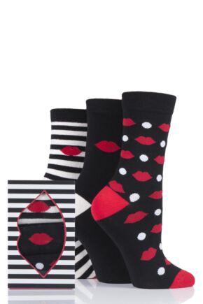 Ladies 3 Pair Lulu Guinness Gift Boxed Kiss Socks Black 4-8 Ladies