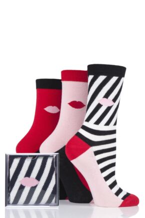 Ladies 3 Pair Lulu Guinness Gift Boxed Kiss and Cat Socks