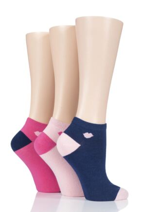 Ladies 3 Pair LuLu Guinness Kisses Cotton Trainer Socks