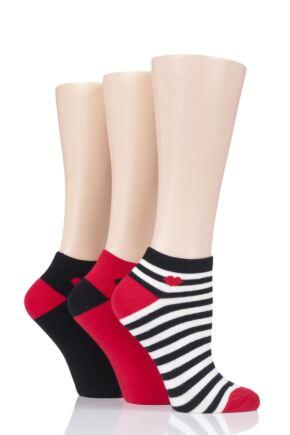 Ladies 3 Pair LuLu Guinness Kisses Cotton Trainer Socks