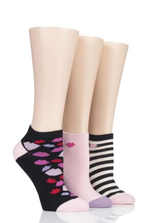 Ladies 3 Pair Lulu Guinness Cotton Secret Socks