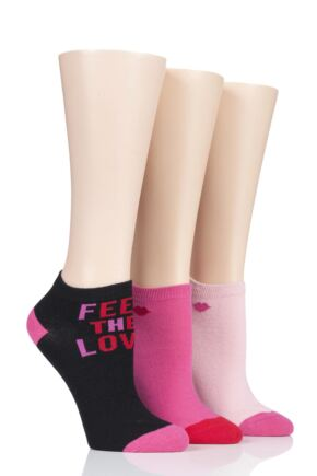 Ladies 3 Pair Lulu Guinness Cotton Secret Socks